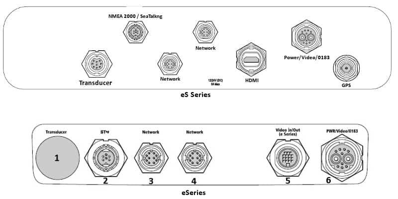 Raymarine eSeries vs eS Series - Rear Connections
