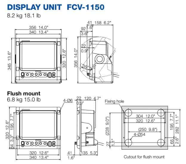 Furuno FCV-1150 Dimensions