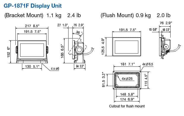 Furuno GP-1871F Dimensions