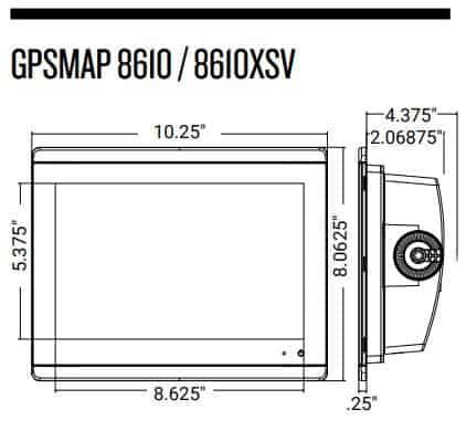 Garmin GPSMAP 8610xsv - Dimensions
