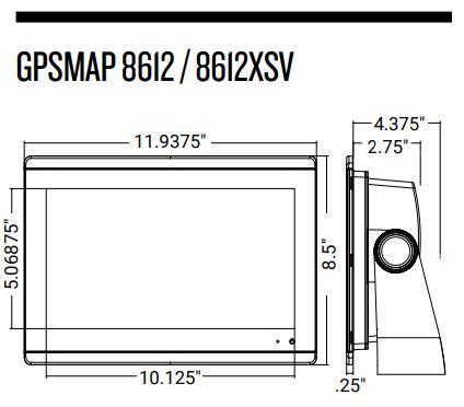 Garmin GPSMAP 8612xsv - Dimensions