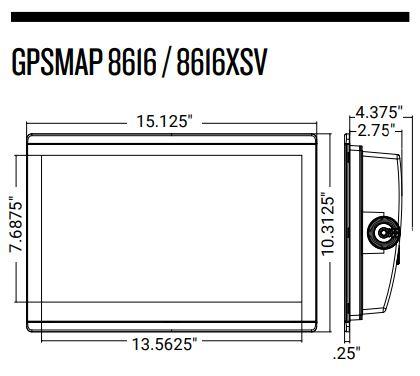 Garmin GPSMAP 8616xsv - Dimensions