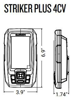 Garmin Striker Plus 4cv - Dimensions
