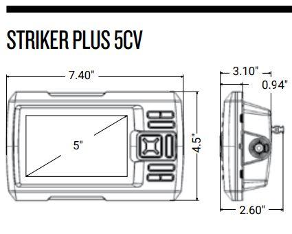 Garmin Striker Plus 5cv - Dimensions