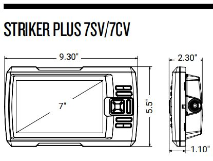 Garmin Striker Plus 7cv - Dimensions