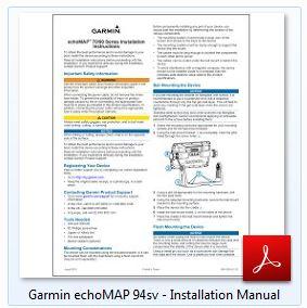 Garmin echoMAP 94sv - Installation Manual