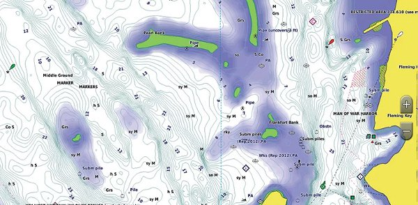 GPSMAP 1242xsv Touch - BlueChart g3 Shallow Water Shading