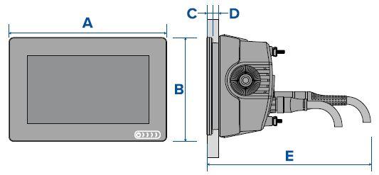 Raymarine AXIOM 7 - Flush Mount Dimensions