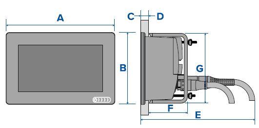 Raymarine AXIOM 7 - Surface Mount Dimensions