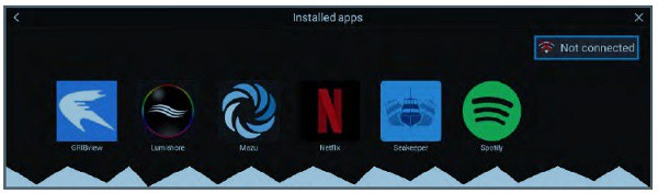 Raymarine AXIOM+ 9 - Installed Apps Screen