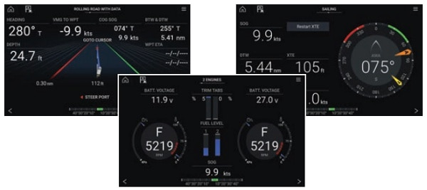 Raymarine Axiom Plus 9 - Dashboard App Features