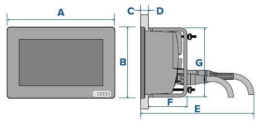 Raymarine AXIOM+ 7 - Rear Mount Dimensions