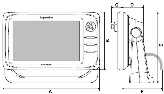 Raymarine e165 - Dimensions