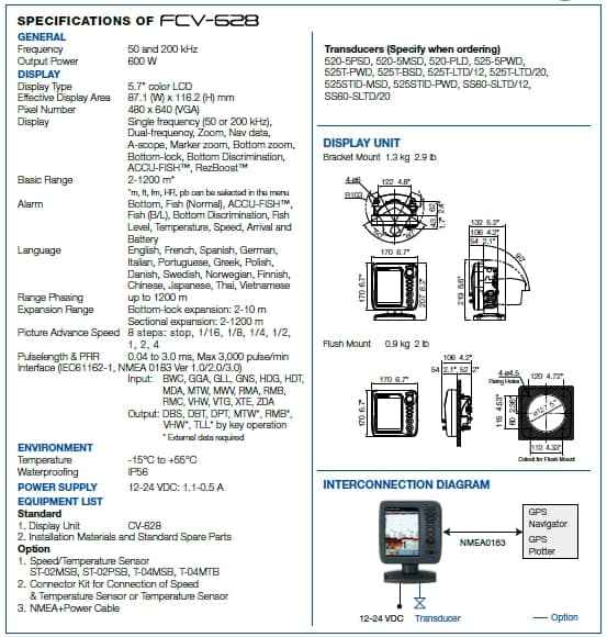 Furuno - FCV-628 Specifications