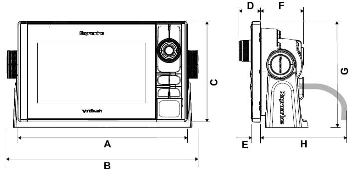 Raymarine eS128 - Dimensions