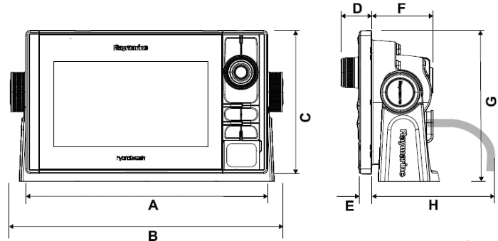 Raymarine eS78 - Dimensions
